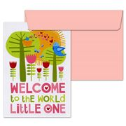 Little Red Owl - Welcome To The World Pink Greeting Card