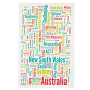 Ogilvies Designs - New South Wales Towns Tea Towel White