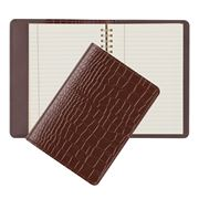 Graphic Image - Brown Crocodile Leather Small Spiral Journal
