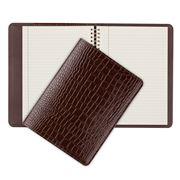 Graphic Image - Brown Crocodile Leather Large Spiral Journal
