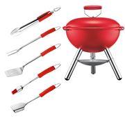 Bodum - Fyrkat Red Grill & Red Grill Tool Set