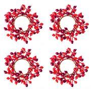 Madras - Sunburst Red Napkin Ring Set 4pce