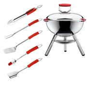 Bodum - Fyrkat Chrome Grill & Red Grill Tool Set
