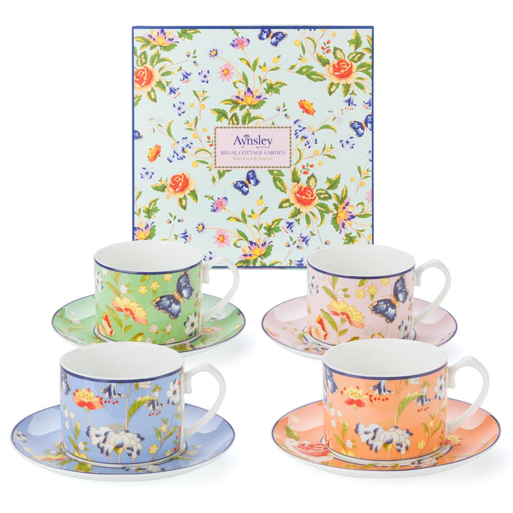 Aynsley Regal Cottage Garden Teacup Saucer Set 4pce