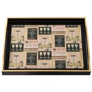 Whitelaw & Newton - Black & Gold Wine On Black Large Tray