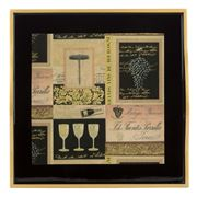 Whitelaw & Newton - Black & Gold Wine Small Square Tray