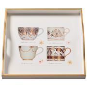 Whitelaw & Newton - Antique Cups Gold On White Square Tray