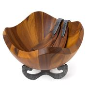 Nambe - Anvil Scroll Salad Bowl with Servers