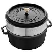 Staub - Black Round Cocotte & Steamer Insert 26cm/5.2L