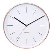 Karlsson - Minimal White Wall Clock with Copper Case