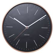 Karlsson - Minimal Black Wall Clock with Copper Case