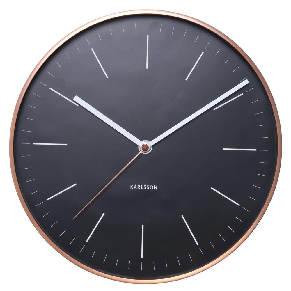 Karlsson Minimal Black Wall Clock With Copper Case