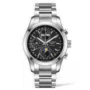 Longines - Conquest Blk Dial Moon Phase S/Steel Chronograph
