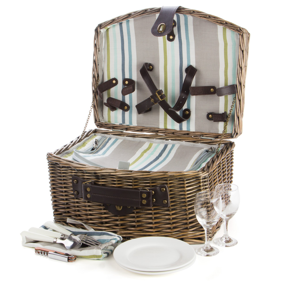 Picnic Basket Set Australia : Satara natural wicker picnic basket set for two peter