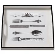 Whitelaw & Newton - Cutlery On White Small Square Tray