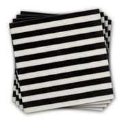 Bullseye - Black & White Stripe Coaster Set 4pce
