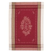French Linen - Monogramme Jacquard Ecru & Red Tea Towel