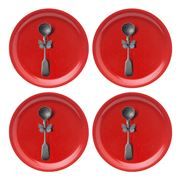 Ary Home - Cutlery Coaster Set Red 4pce