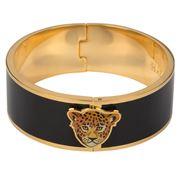 Halcyon Days - Leopard Head Black & Gold Hinged Bangle