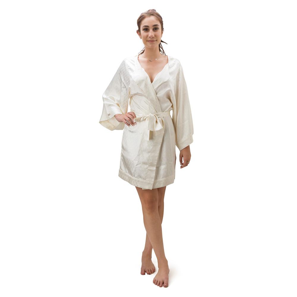 Hamam - Silk Ivory Large Dressing Gown | Peter\'s of Kensington