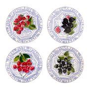 Gien - Oiseau Bleu Fruits Dessert Plate Set 4pce