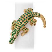 L'objet - Crocodile Jewel Gold Napkin Ring Set 4pce