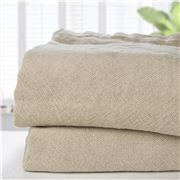 Brahms Mount - Natural Plain Linen Queen Blanket