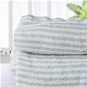 Brahms Mount - Indigo Stripe Linen Queen Blanket