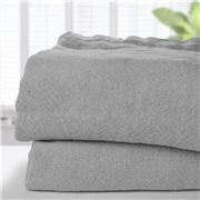 Brahms Mount - Dove Plain Linen Queen Blanket
