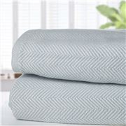 Brahms Mount - Herringbone Cotton Blue Queen Blanket