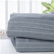 Brahms Mount - Pinstripe Fine Wool Blue Queen Blanket