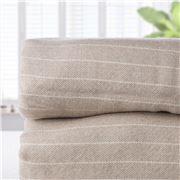 Brahms Mount - Pinstripe Fine Wool Blanket Oatmeal Queen