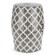 Avalon - Lattice Dove Grey Decorator Stool