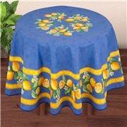 French Linen - Citron Blue Round Tablecloth 180cm