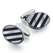 Dalvey - Repp Black Onyx & Mother of Pearl Cufflinks