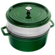 Staub - Cocotte & Steamer Round Basil Green 26cm/5.2L