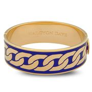 Halcyon Days - Curb Chain Hinged Bangle Cobalt & Gold