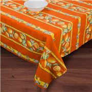 French Linen - Citron Orange Treated Tablecloth 155x300cm