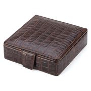 Plata Lappas - Crocodile Leather Brown Small Cufflink Box