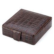 Plata Lappas - Crocodile Leather Brown Small Cufflink Box