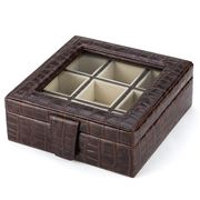 Plata Lappas - Crocodile Leather Brown Square Cufflinks Box