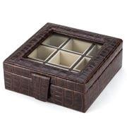 Plata Lappas - Crocodile Leather Brown Square Cufflinks Box