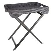 Rattan - Butler Tray with Stand Blackwash