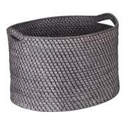 Rattan - Blackwash Large Storage Basket with Handles