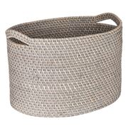 Rattan - Greywash Large Storage Basket with Handles