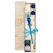 Rubinato - Leo 15 OceanBlue Glass Pen w/ Blue ink & Stand