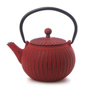 Teaology - Red Ribbed Cast Iron Teapot 500ml
