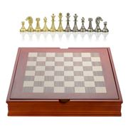 Italfama - Walnut & Maple Chess Board with Metal Pieces