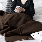 Midipy - Plaid Chocolate & Ivory Ecru Stitch Throw 120x180cm