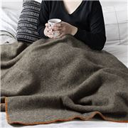 Midipy - Plaid Grey & Orange Ecru Stitch Throw 120x180cm